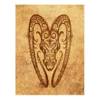 Vintage Aged Aries Zodiac Postcard