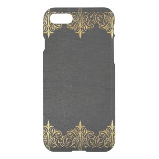 Vintage Aged Black Leather With Gold Lace Frame iPhone 7 Case