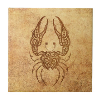Vintage Aged Cancer Zodiac Tile
