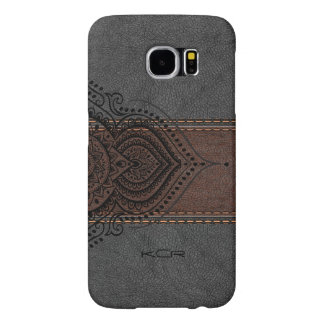 Vintage Aged Leather With Black Lace Accent Samsung Galaxy S6 Cases