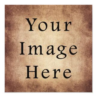 Vintage Aged Light Dark Brown Parchment Paper 13 Cm X 13 Cm Square Invitation Card