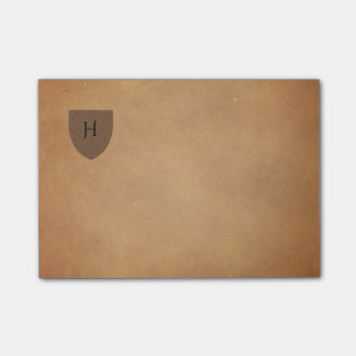 Vintage Aged Post-its with Monogram Shield Post-it Notes