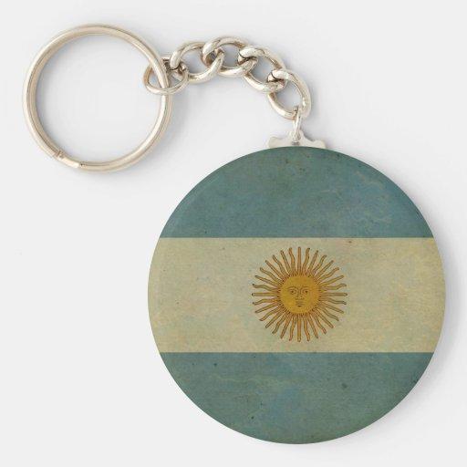 Vintage aged retro Argentina flag Keychain