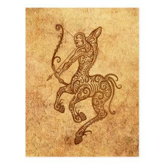 Vintage Aged Sagittarius Zodiac Postcard
