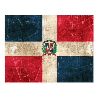 Vintage Aged Scratched Flag of Dominican Republic Postcard