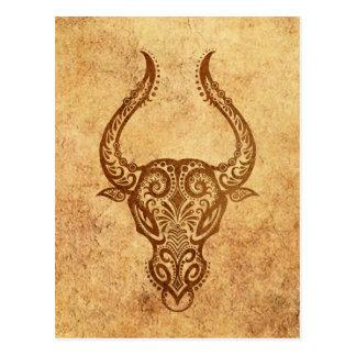 Vintage Aged Taurus Zodiac Postcard