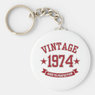 Vintage Aged to Perfection 1974 Basic Round Button Key Ring