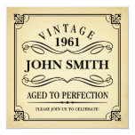 Vintage Aged to Perfection Funny Birthday 13 Cm X 13 Cm Square Invitation Card
