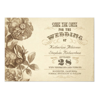 "vintage aged typographic save the date 5"" x 7"" invitation card"