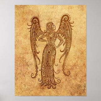 Vintage Aged Virgo Zodiac Poster