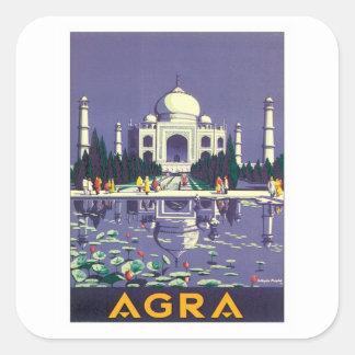 Vintage Agra Taj Mahal India Square Sticker