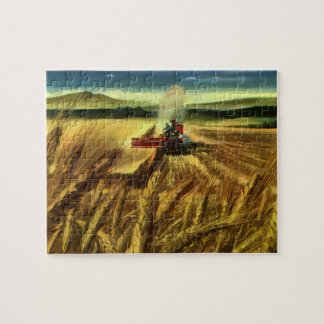 Vintage Agricultural Farm Business, Wheat Farming Jigsaw Puzzle