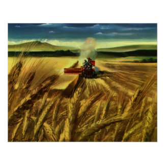 Vintage Agricultural Farm Business, Wheat Farming Poster