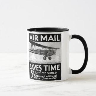 Vintage Air Mail Poster Design with Bi-Plant Mug