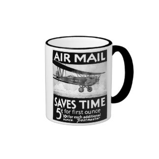 Vintage Air Mail Poster Design with Bi-Plant Mugs