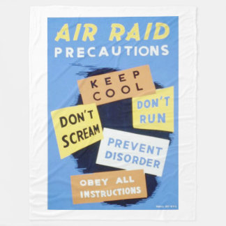Vintage Air Raid Precautions WPA Poster Fleece Blanket