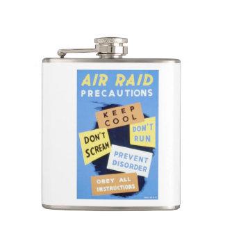 Vintage Air Raid Precautions WPA Poster Hip Flask