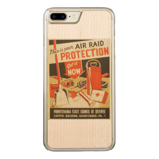 Vintage Air Raid Protection Defense WPA Poster Carved iPhone 7 Plus Case