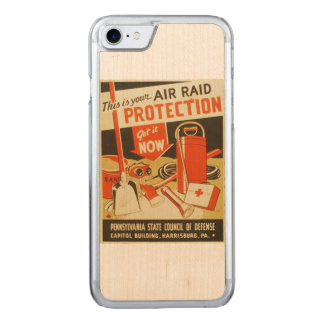 Vintage Air Raid Protection Defense WPA Poster Carved iPhone 8/7 Case