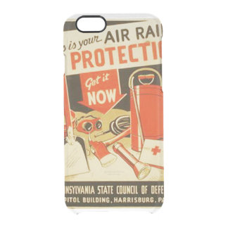 Vintage Air Raid Protection Defense WPA Poster Clear iPhone 6/6S Case