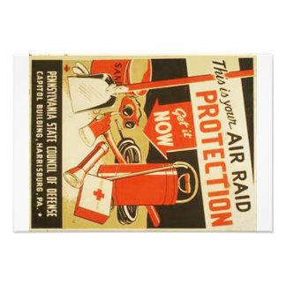 Vintage Air Raid Protection Defense WPA Poster Photo
