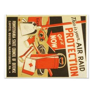 Vintage Air Raid Protection Defense WPA Poster Photograph