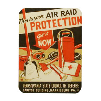 Vintage Air Raid Protection Defense WPA Poster Rectangular Photo Magnet