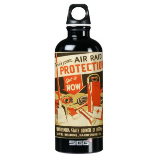 Vintage Air Raid Protection Defense WPA Poster SIGG Traveller 0.6L Water Bottle