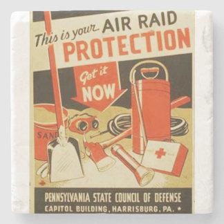 Vintage Air Raid Protection Defense WPA Poster Stone Beverage Coaster