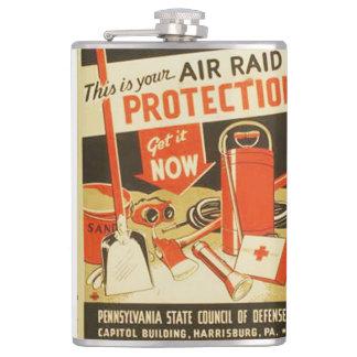 Vintage Air Raid Protection Defense WPA Poster Flask