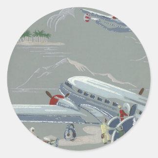 Vintage Air Travel in Gray Round Sticker