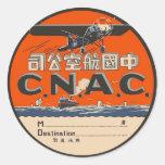 Vintage Air Travel Label Round Stickers