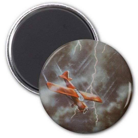 Vintage Aircraft Button Badge 6 Cm Round Magnet