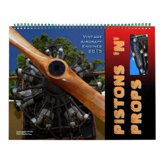 Vintage  Aircraft  Engines Huge 2015 Wall Calendar