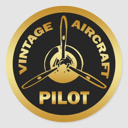 VINTAGE AIRCRAFT PILOT CLASSIC ROUND STICKER