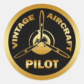 VINTAGE AIRCRAFT PILOT ROUND STICKER