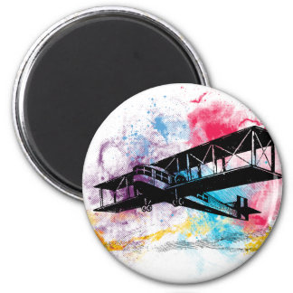Vintage Aircraft with colorful clouds 6 Cm Round Magnet