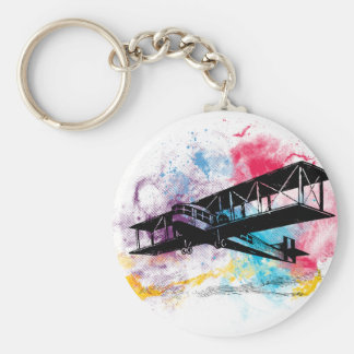 Vintage Aircraft with colorful clouds Key Ring