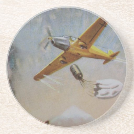 Vintage Aircraft with Parachute Coaster
