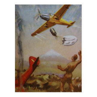 Vintage Aircraft with Parachute Postcard