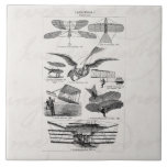 Vintage Aircrafts Aeroplanes Airships Retro Planes Large Square Tile