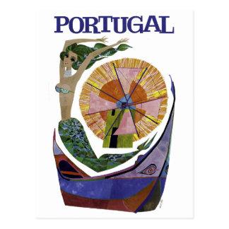 Vintage Airline Portugal Travel Postcard