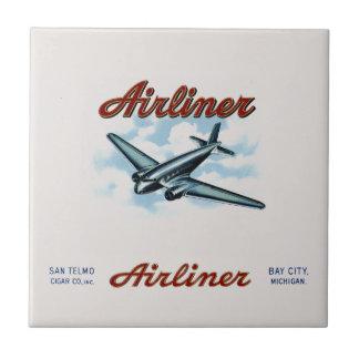 Vintage Airliner Cigar Box Label Retro Small Square Tile
