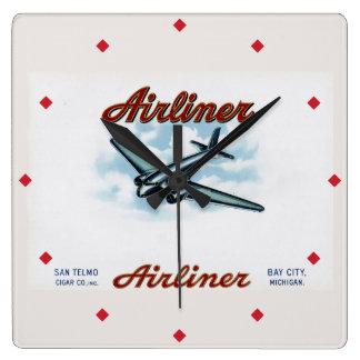 Vintage Airliner Cigar Box Label Retro Wallclock