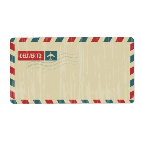 Vintage Airmail Address Mailing | DELIVER TO: Shipping Label