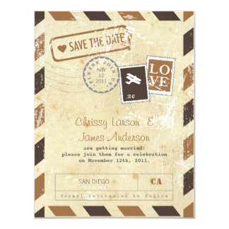 Vintage Airmail Card Save the Date Personalized Announcements