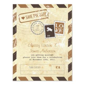"Vintage Airmail Invitation Card 4.25"" X 5.5"" Invitation Card"