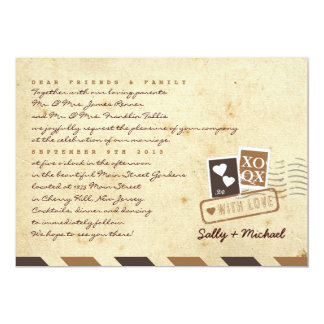 Vintage Airmail Love Letter Personalized Note 13 Cm X 18 Cm Invitation Card