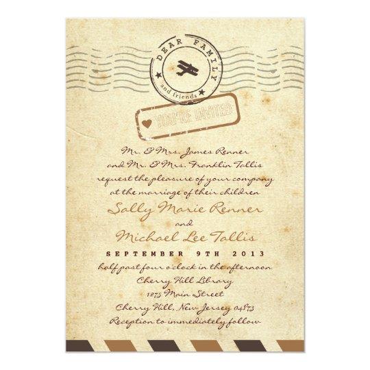 Airmail Wedding Invitations: Vintage Airmail Love Letter Wedding Invitation