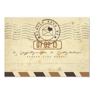 Vintage Airmail Love Letter Wedding Response Card 9 Cm X 13 Cm Invitation Card